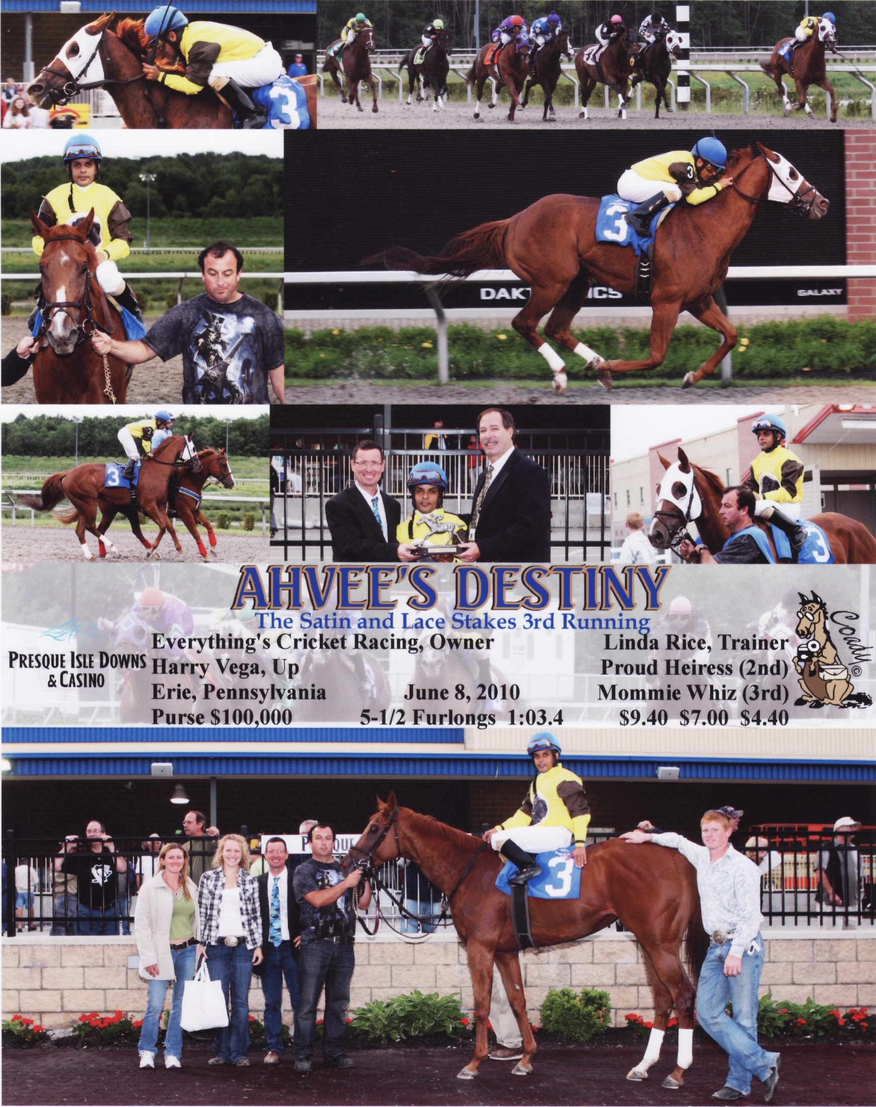 On September 2, 2007, Ahvee's Destiny won her third race (second in a row) on Saratoga's grass course by three lengths—just a fraction off the track record. Since the Freedberg's were in Scotland, they saw the result on TV in the lobby of The Gleneagles Hotel. Trainer Linda Rice, her staff, and jockey, Alan Garcia are in the winner's circle.