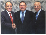 Avram meets with former New York City Mayor Rudy Giuliani and U.S. Congressman Christopher Shays in Greenwich, CT.