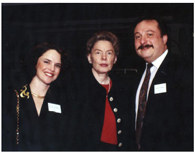 Rhoda and Avram C. Freedberg with former UN Ambassador Jean Kirkpatrick (center) at a United Jewish Federation dinner.