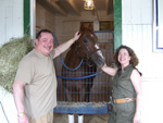Avram C. Freedberg , his wife Rhoda and Ahvee's Destiny at Linda Rice Stables, June 2008.