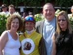 Avram C. Freedberg , his wife Rhoda, trainer Linda Rice and jockey, Eibar Coa in the Winner's Circle, Saratoga Races, August 2007. Note Cricket's image on the front of the jockey silks.